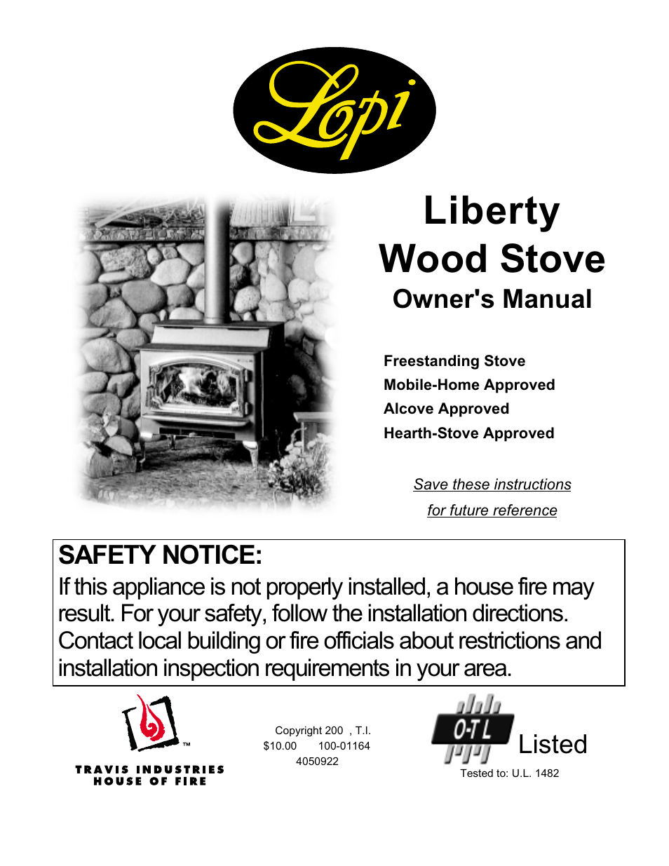 Lopi Liberty Wood Stove User Manual | 38 pages