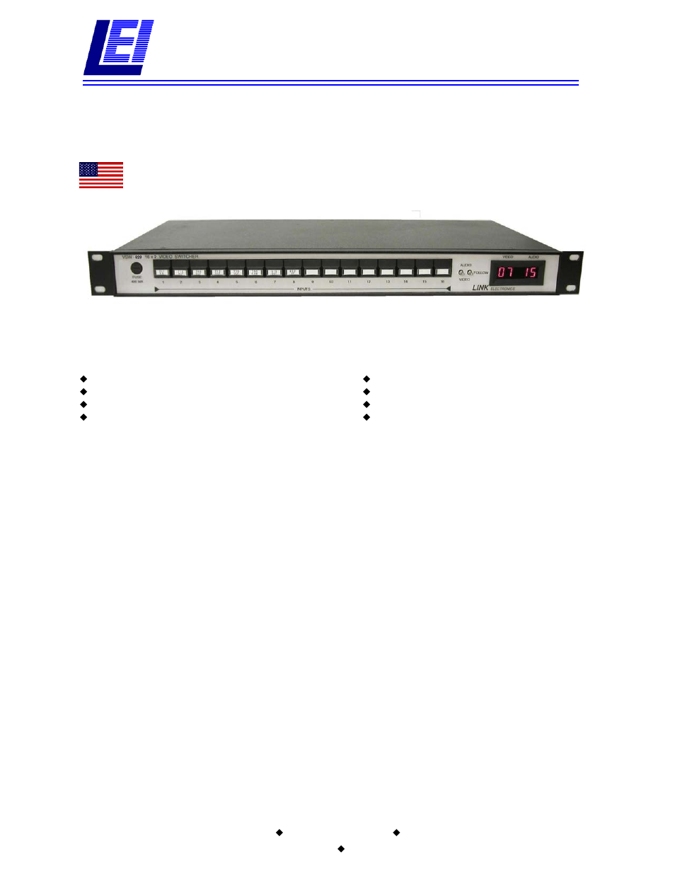 Link electronic VSW-828 User Manual | 2 pages