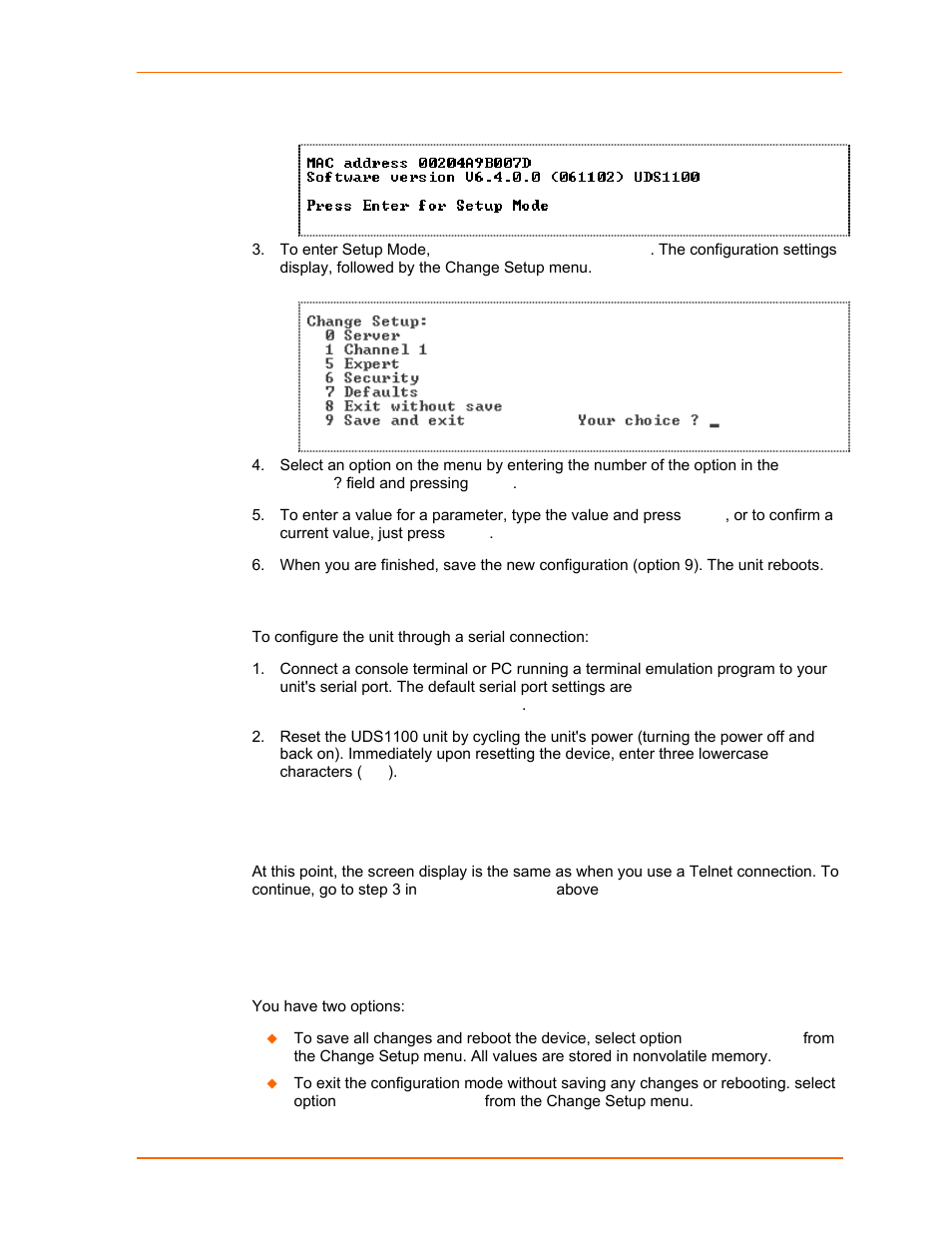 Exiting setup mode, Serial port connection, Figure 5-1  mac