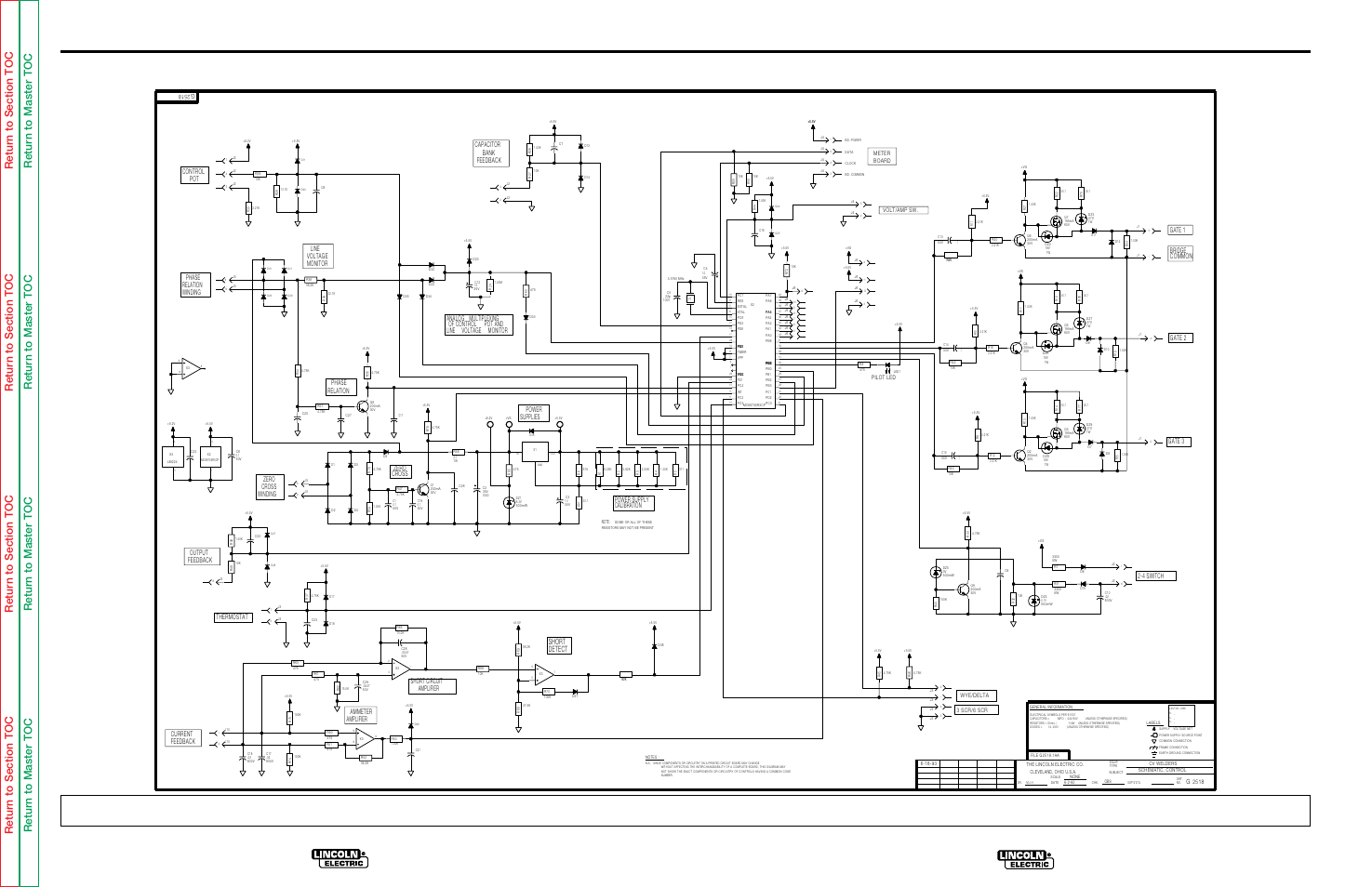 electrical diagrams, l8930 control pc board schematic, detect short | lincoln  electric idealarc cv-300 user manual | page 95 / 112 | original mode  manuals directory