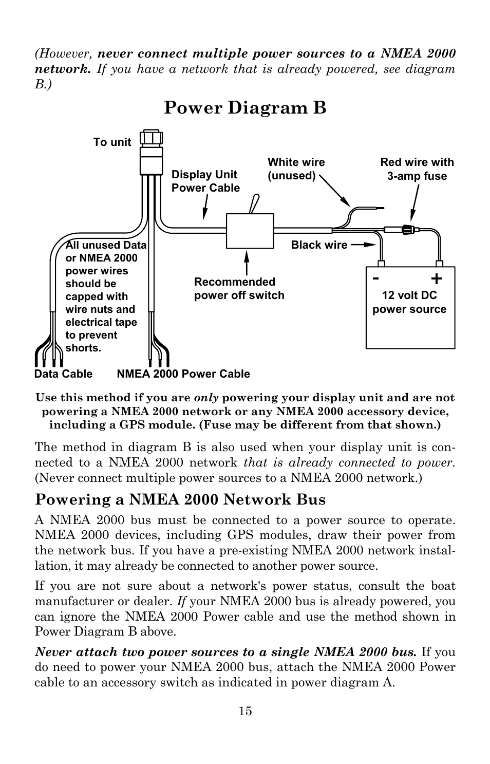 Power Diagram B Powering A Nmea 2000 Network Bus Lowrance Cable Wiring Electronic Globalmap 5200c User Manual Page 21 164