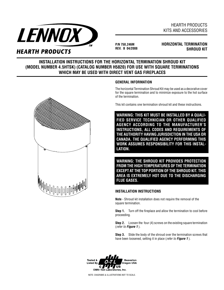 Lennox Hearth H5820 User Manual 2 pages