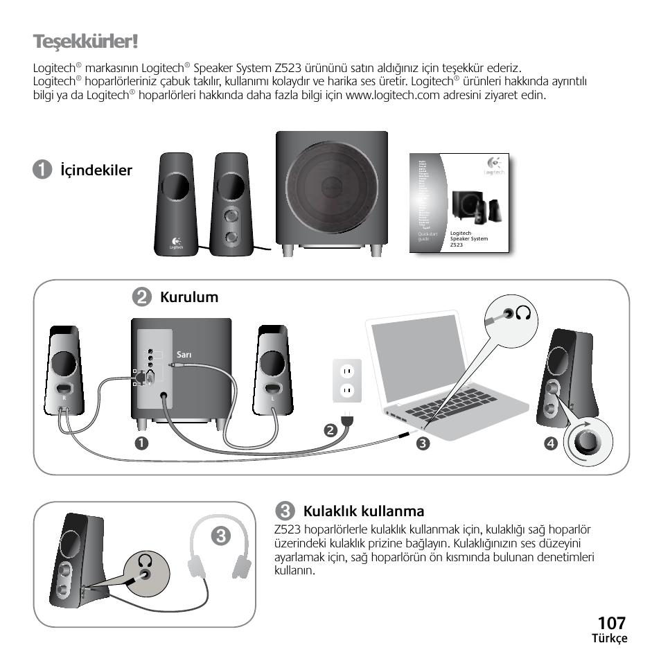 logitech speaker system z523 manual