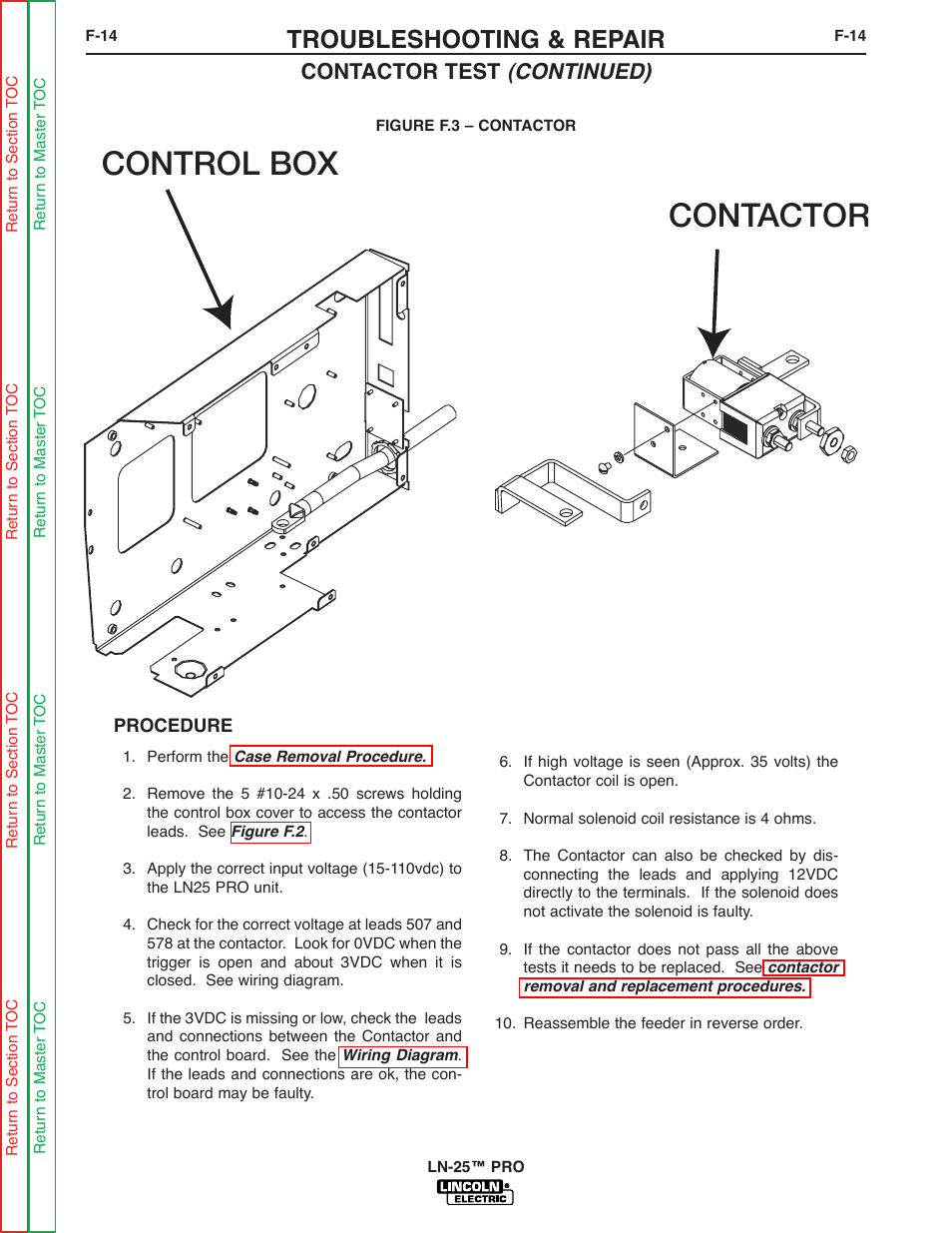 lincoln electric ln 25 svm179 b page58 contactor control box, troubleshooting & repair, contactor test