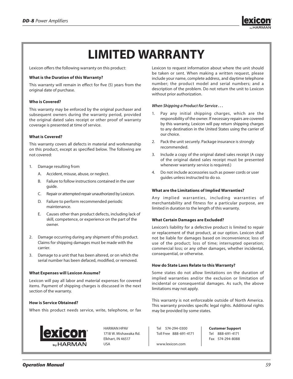limited warranty lexicon dd 8 user manual page 59 64 rh manualsdir com User Manual Guide Instruction Manual Book
