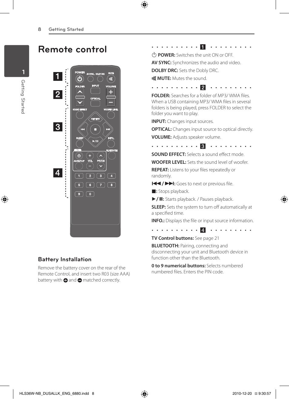 Remote control | LG SPEAKER SOUND BAR SHS36-D User Manual | Page 8