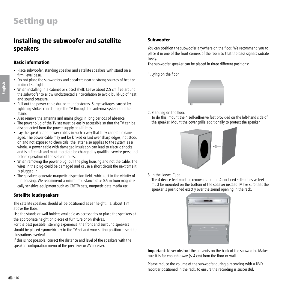 Setting up, Installing the subwoofer and satellite speakers, Basic  information | Satellite loudspeakers,