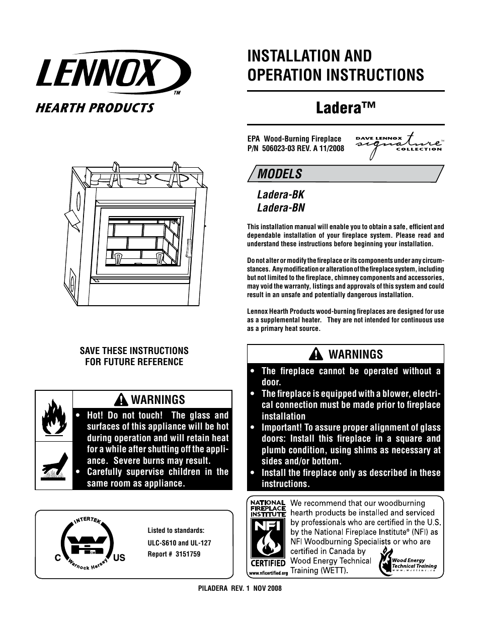 Lennox Hearth Ladera BK User Manual