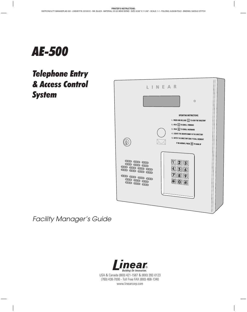 linear telephone entry system ae 500 manual