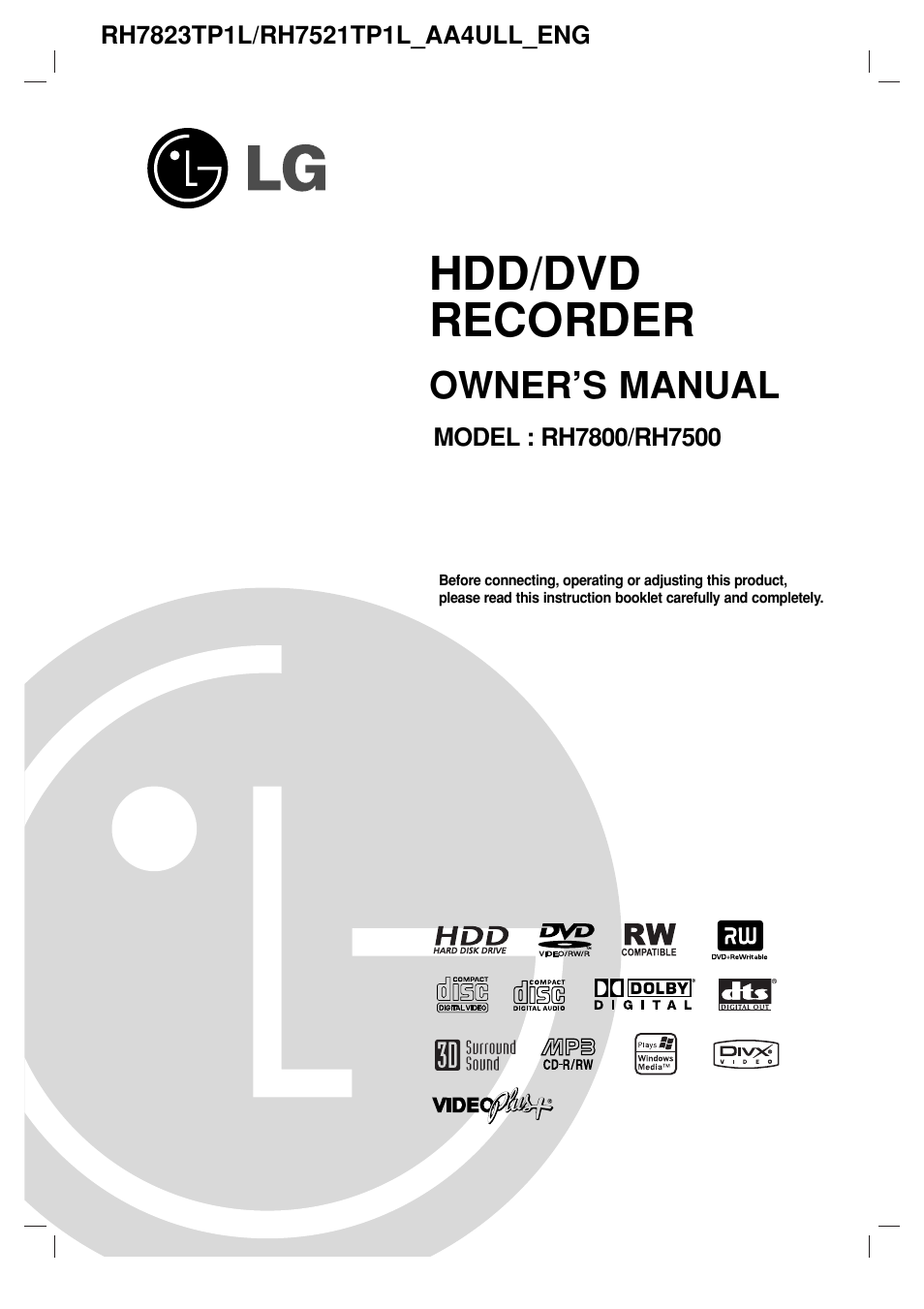 lg rh7800 user manual 62 pages also for rh7500 rh manualsdir com DVD Recorder VCR Combo Walmart DVD Recorder with Hard Drive