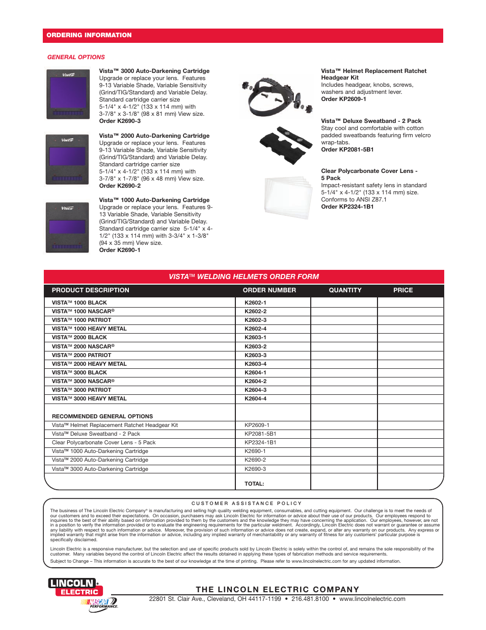 Vista ™ welding helmets order form | Lincoln Electric Welding Helmet User  Manual | Page 4