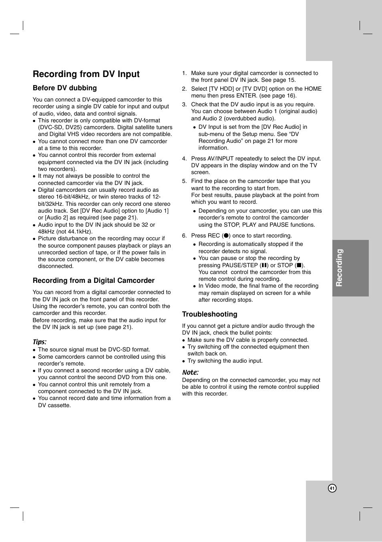 recording from dv input recording lg rh188 user manual page 41 rh manualsdir com LG User Manual Guide LG Phones Manual