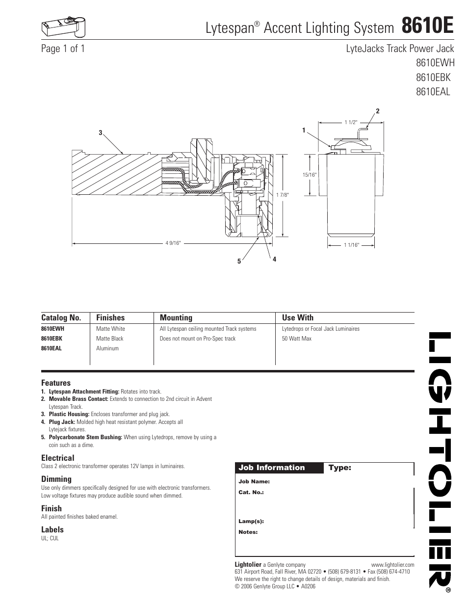 lightolier lytespan accent lighting system 8610e page1 lightolier lytespan accent lighting system 8610e user manual 1 page