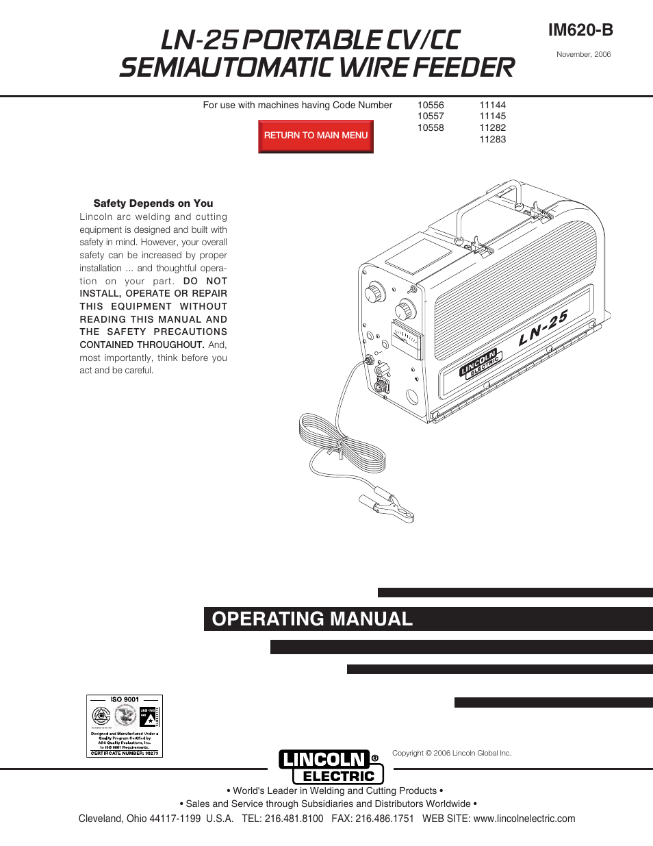 lincoln ln 25 wire feeder manual