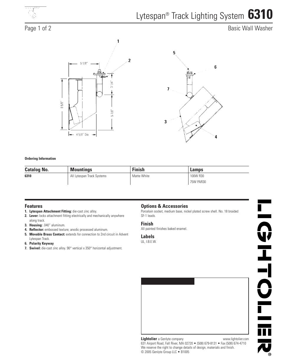 lightolier lytespan track lighting system 6310 user manual 2 pages