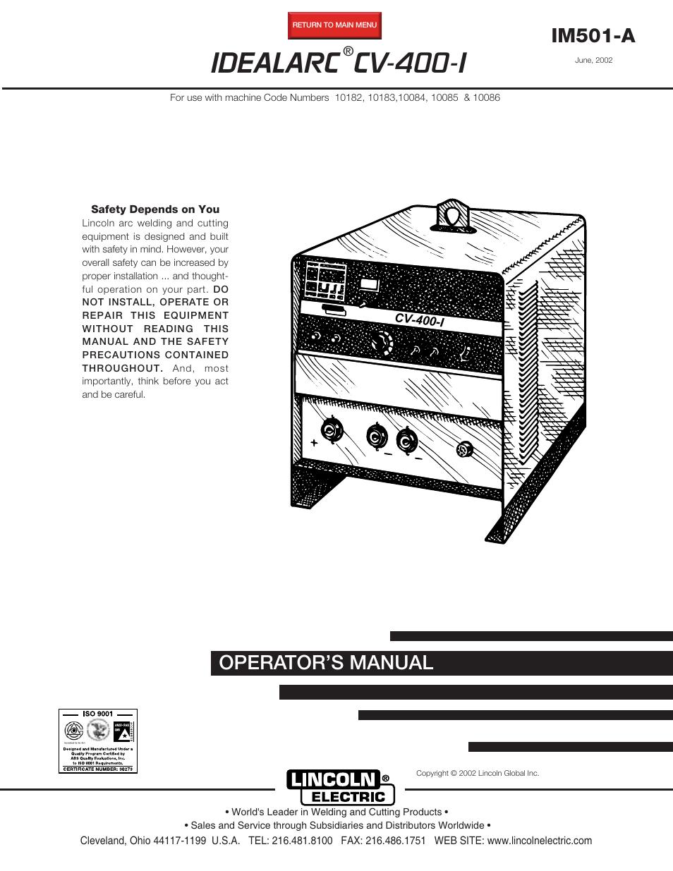 lincoln electric idealarc cv 400 i user manual 44 pages rh manualsdir com Lincoln Plug Wiring Diagram 2000 Lincoln Navigator Engine Diagram