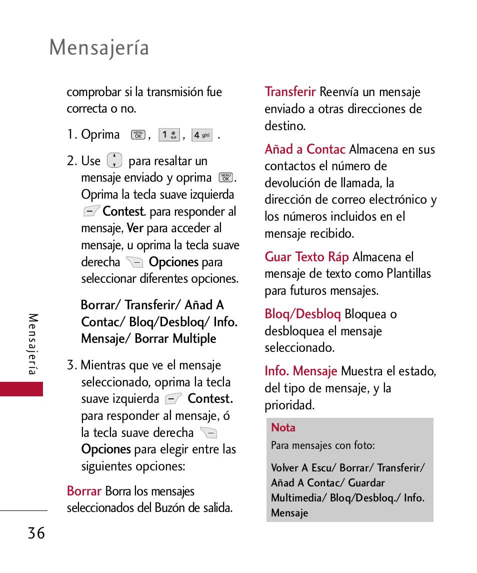 Mensajería | LG 300 User Manual | Page 146 / 226