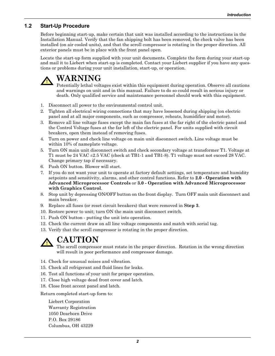 2 start-up procedure, Start-up procedure, Warning | Liebert CHALLENGER 3000  User Manual | Page 10 / 76