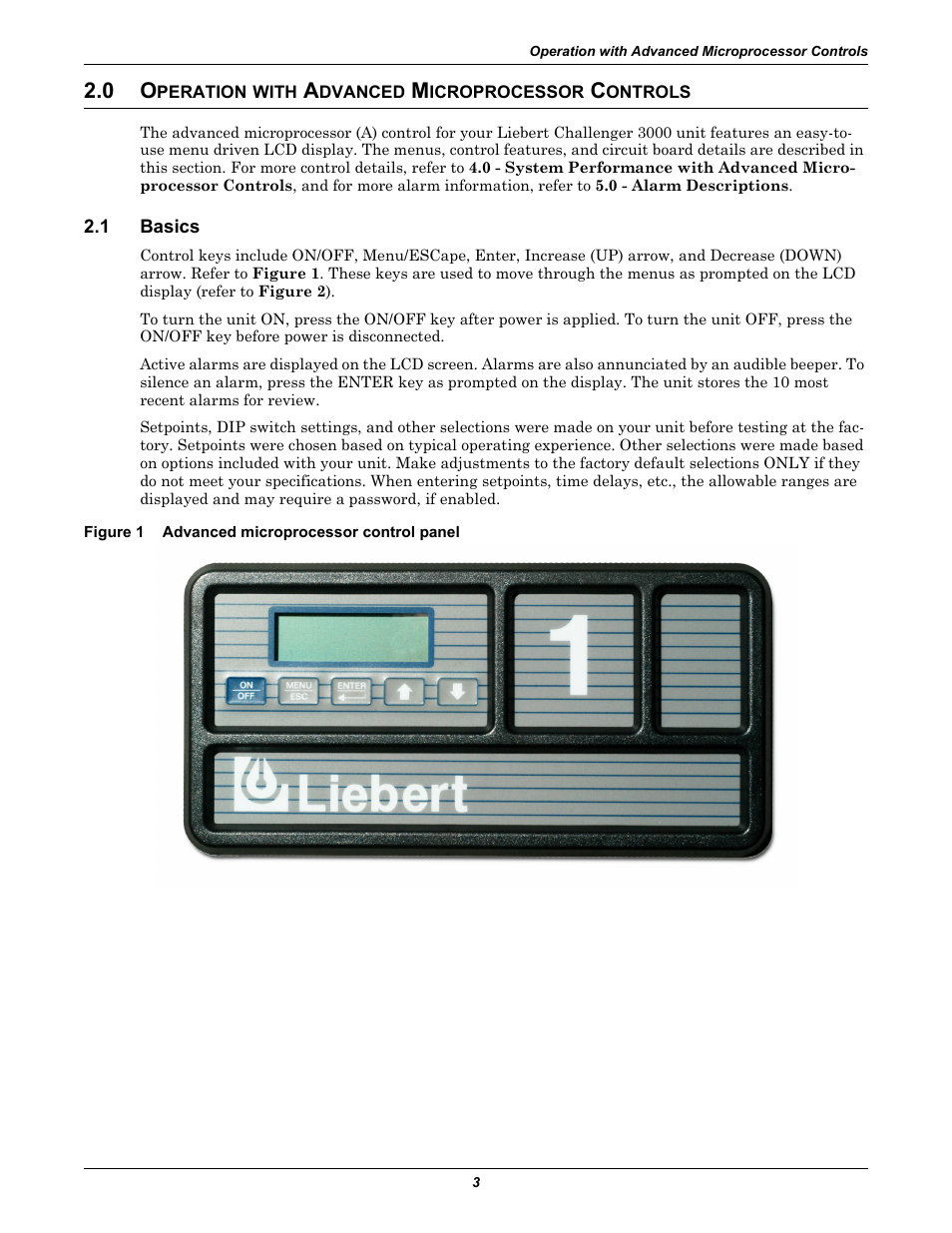 0 operation with advanced microprocessor controls, 1 basics, Figure 1  advanced microprocessor control panel | Liebert CHALLENGER 3000 User Manual  | Page 11 ...