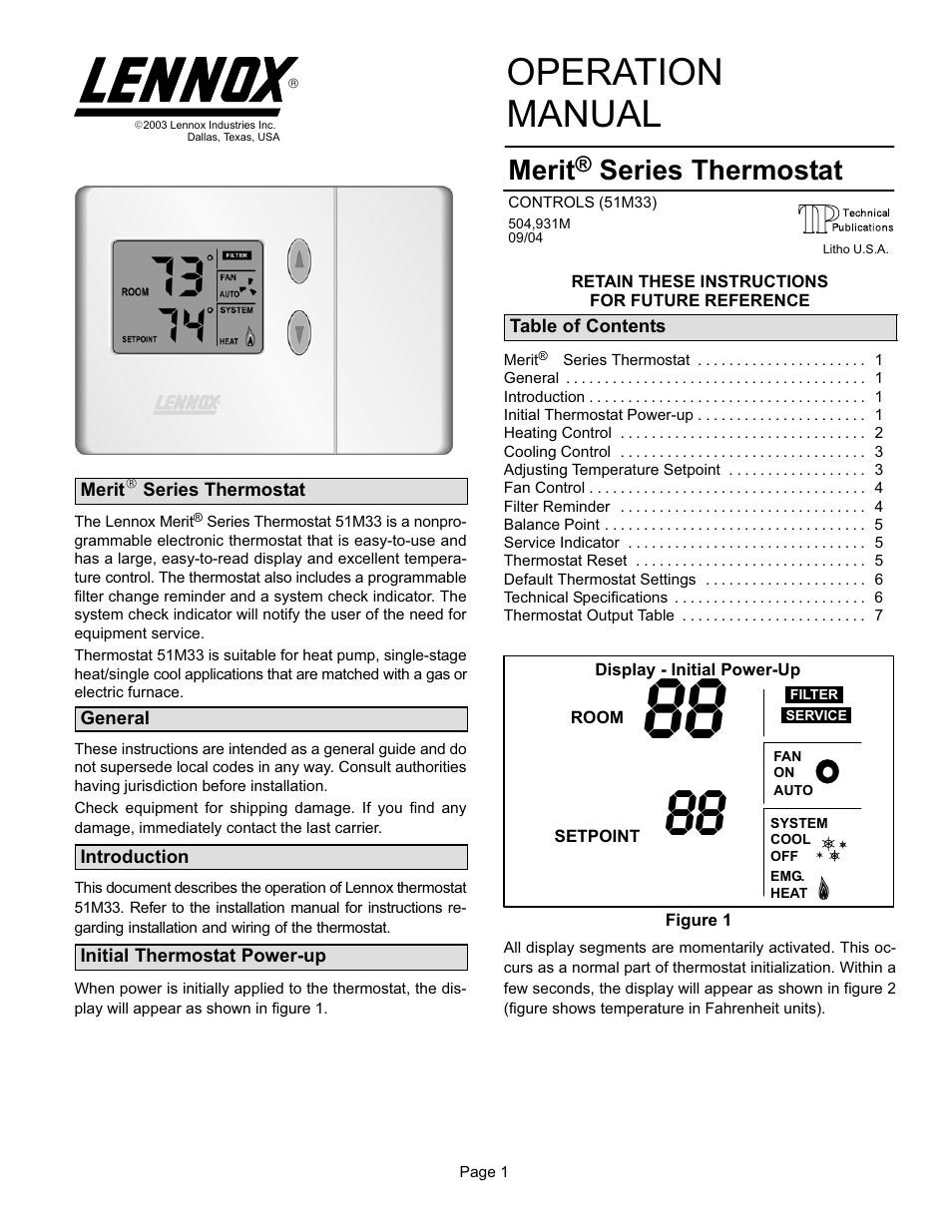 Operation manual, Merit, Series thermostat | Lennox International ...