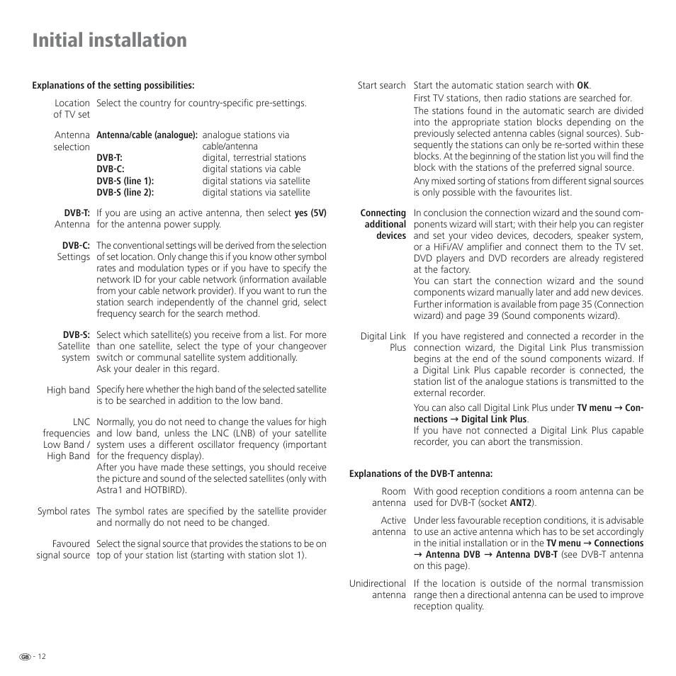 Initial installation | Loewe SPHEROS R 32 User Manual | Page