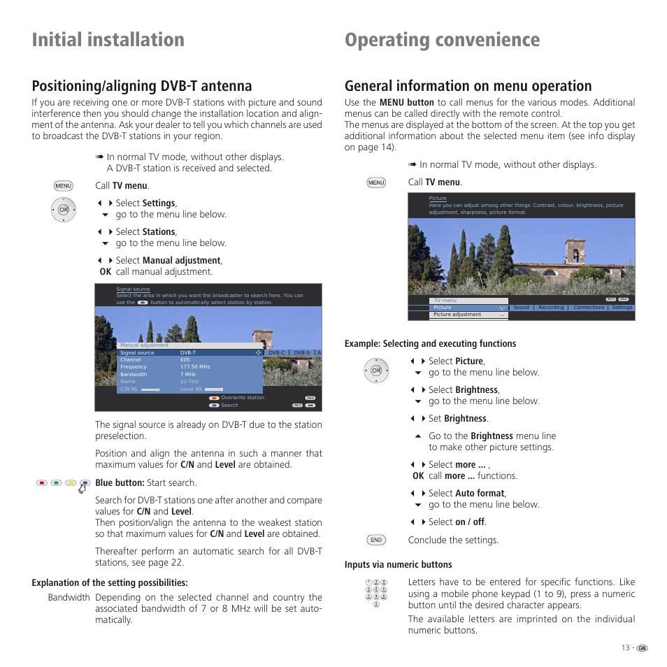 Initial installation operating convenience, Positioning/aligning dvb