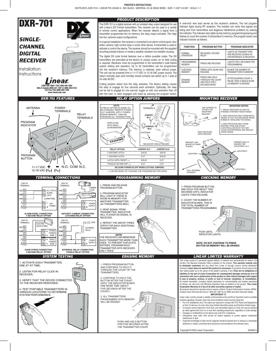Linear Dxr 701 User Manual 1 Page