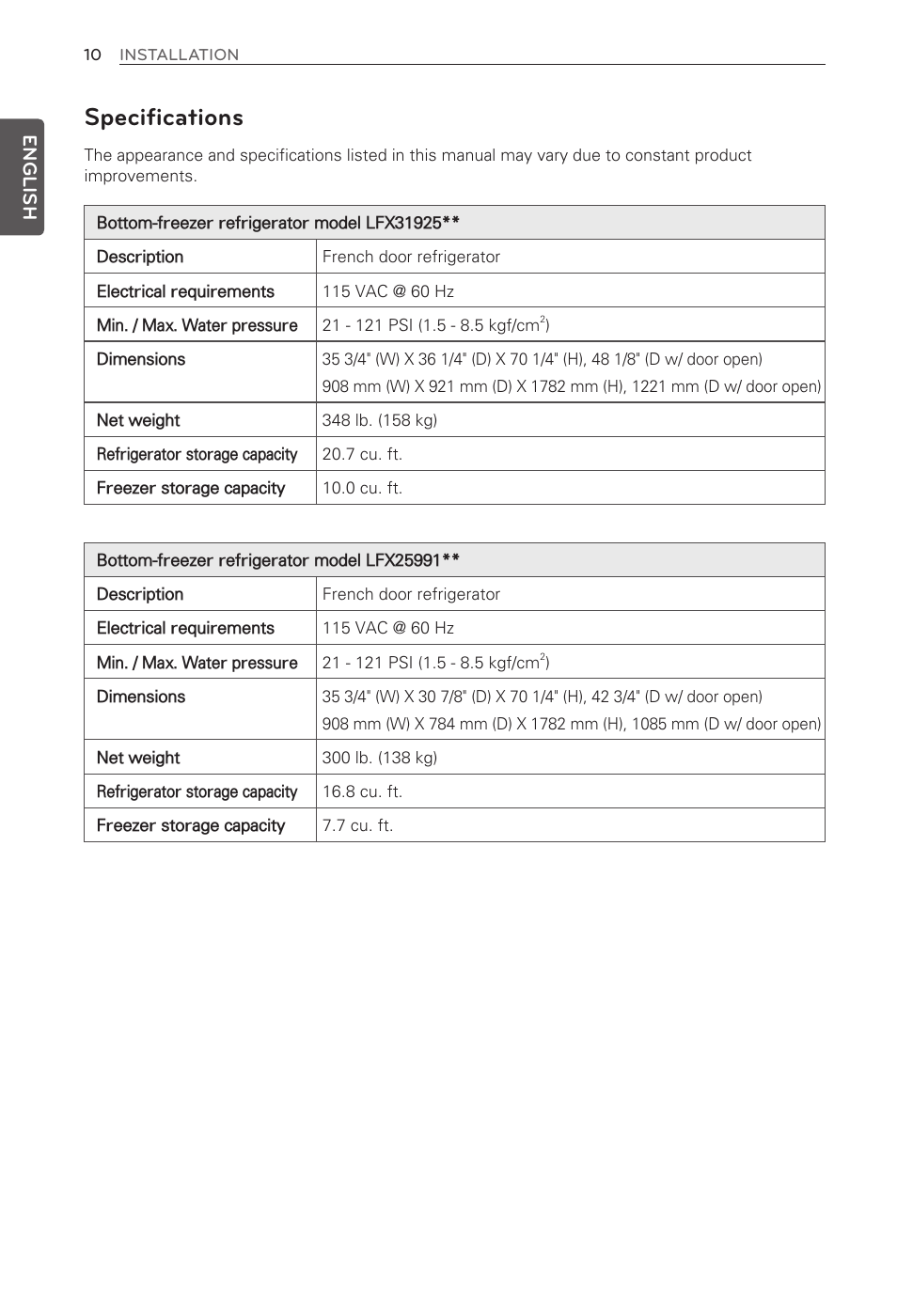 Specifications, English | LG French Door Refrigerator MFL62184416 User  Manual | Page 10 / 61
