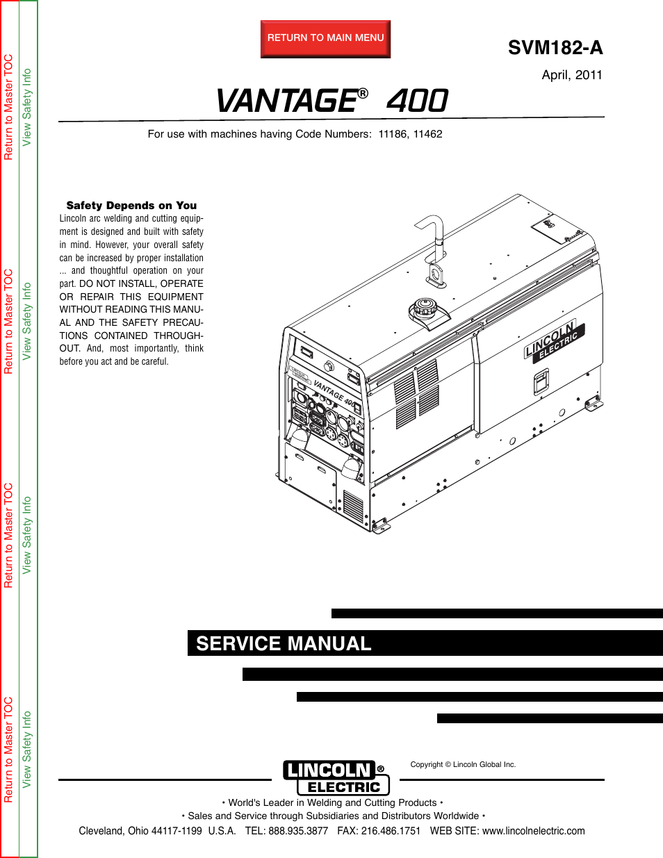 lincoln electric vantage 400 page1 lincoln electric vantage 400 user manual 166 pages