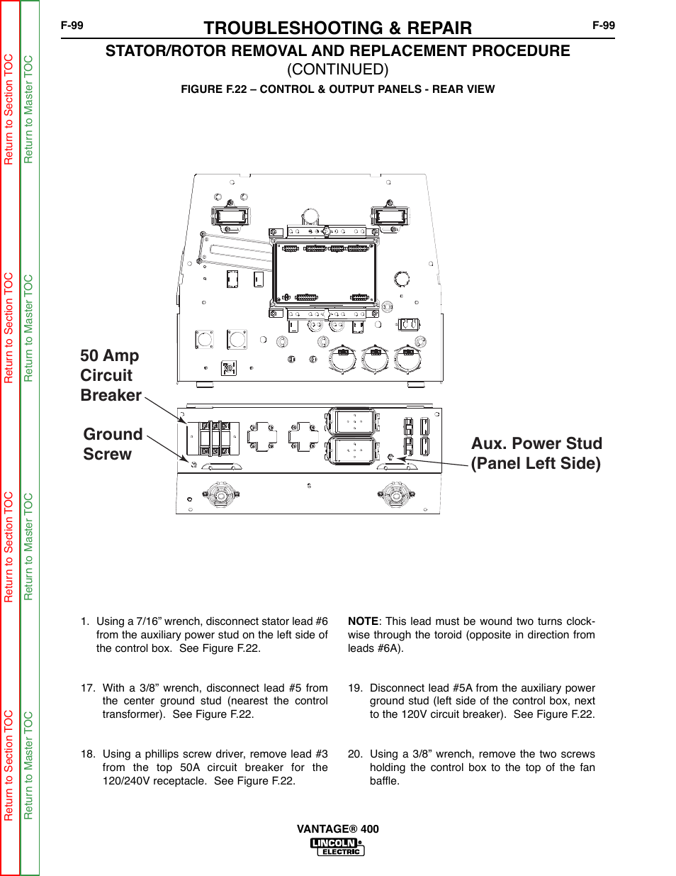See Figure F22 Troubleshooting Repair Lincoln Electric Vantage 1 A 240v Circuit Breaker Panel 400 User Manual Page 147 166