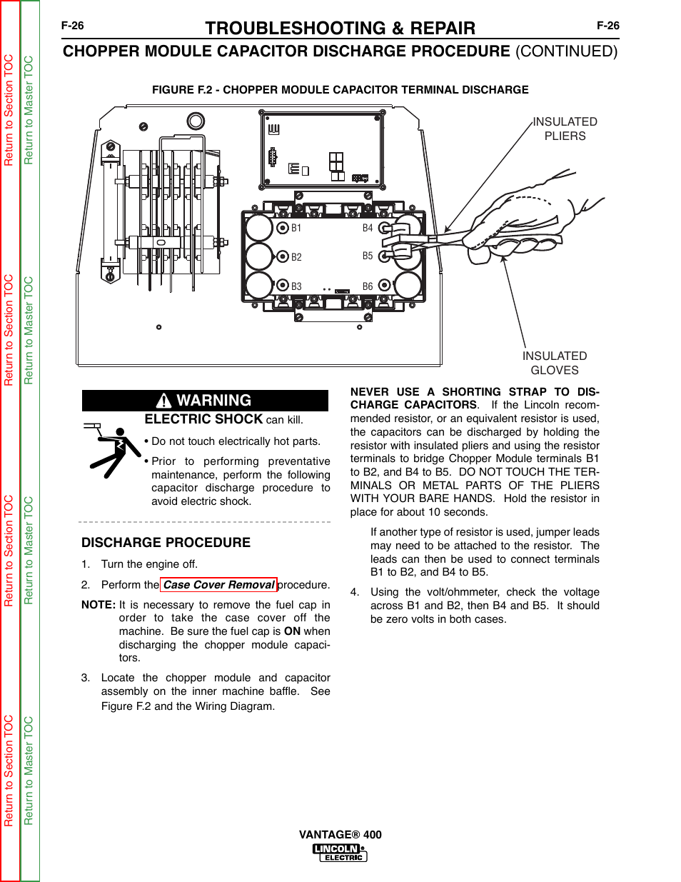 Troubleshooting & repair, Warning   Lincoln Electric VANTAGE 400 User  Manual   Page 74 / 166Manuals Directory