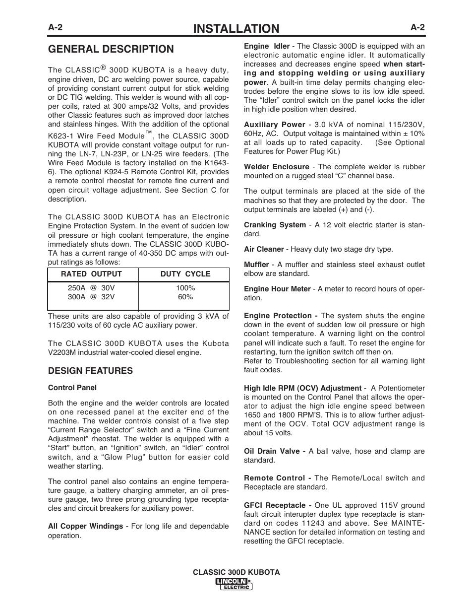 Installation, General description | Lincoln Electric CLASSIC 300D