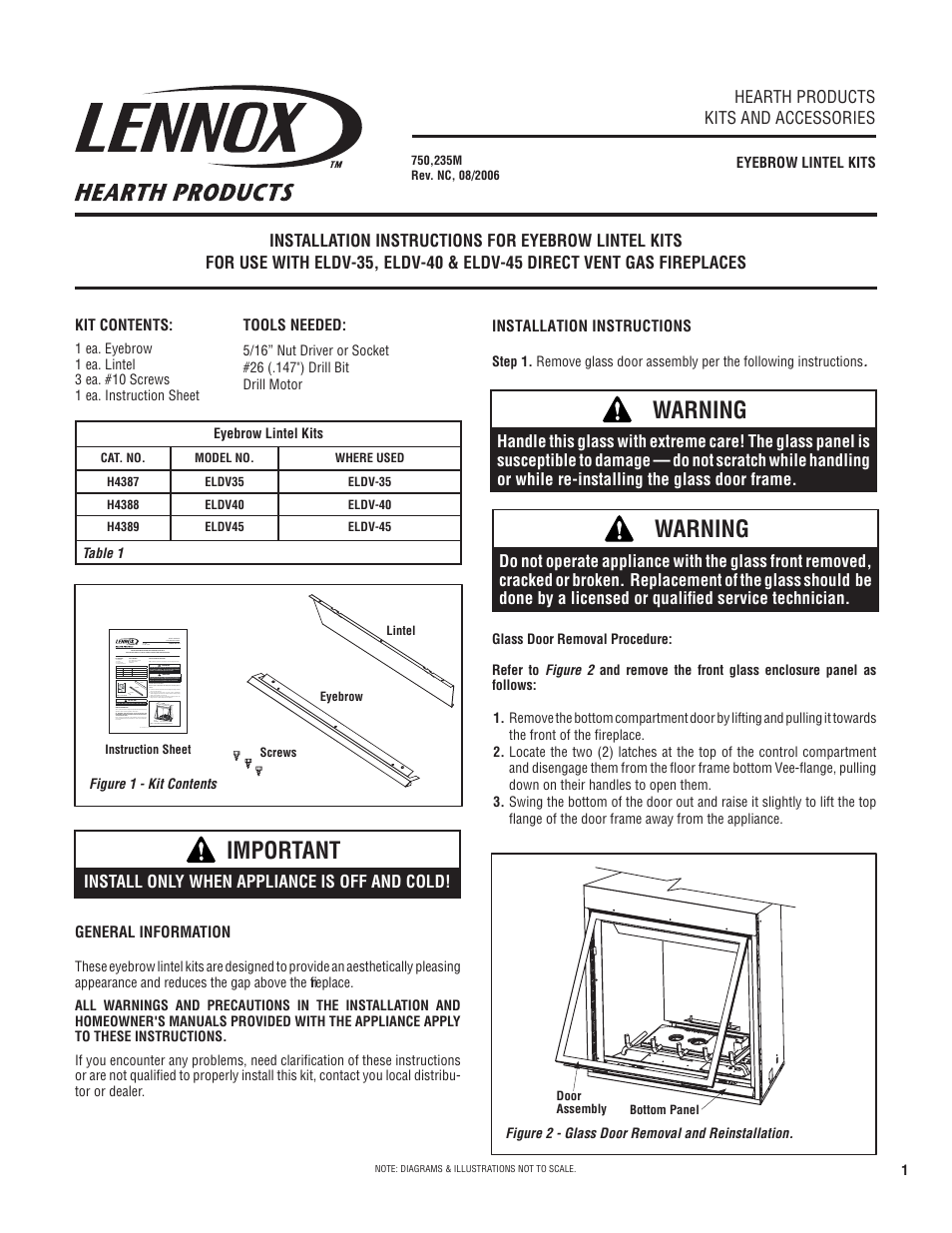 Lennox Hearth Eyebrow Lintel Kit ELDV 35 User Manual
