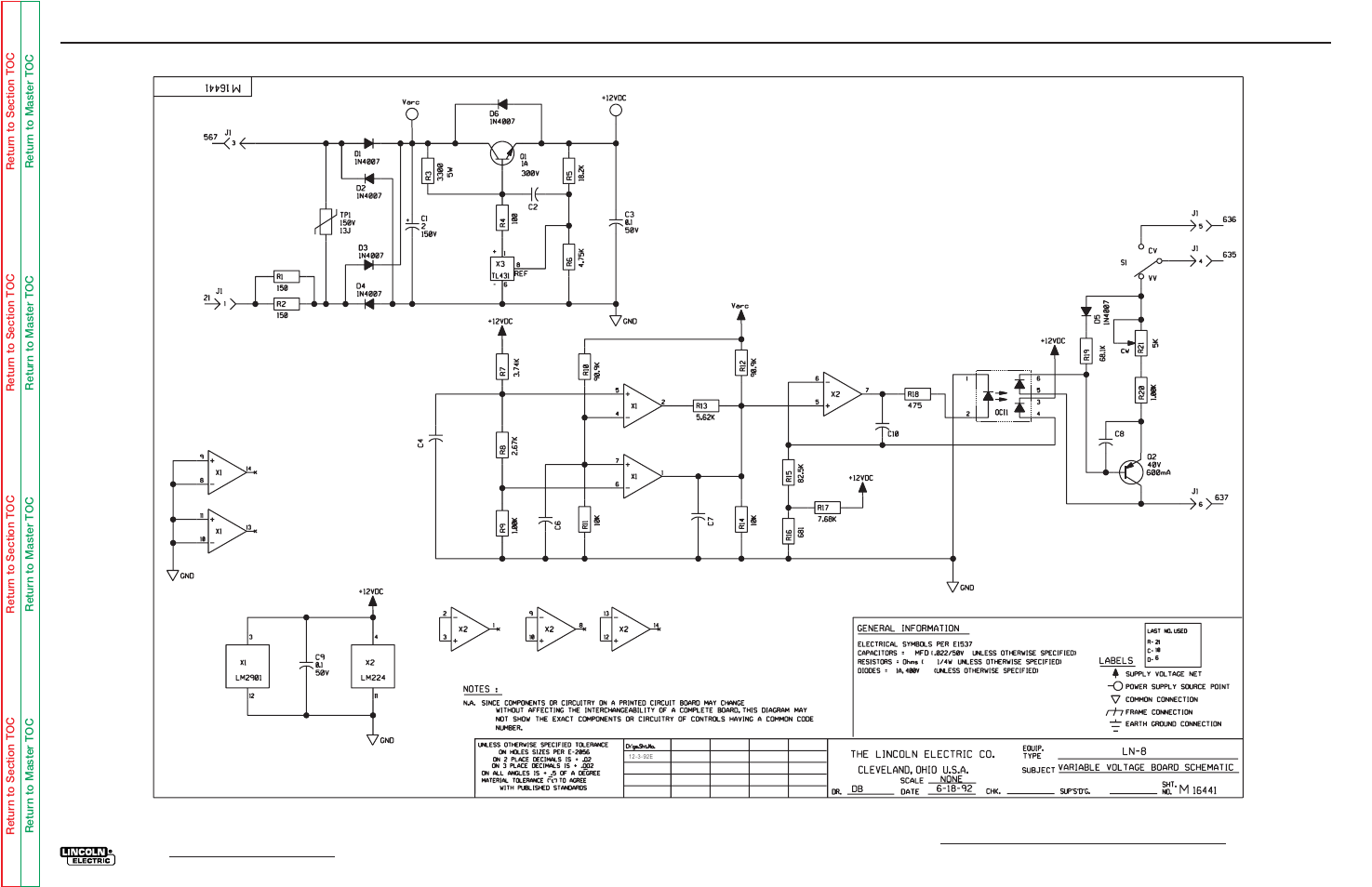 Variable voltage board (l5039) schematic, Electrical diagrams | Lincoln Electric  LN-8