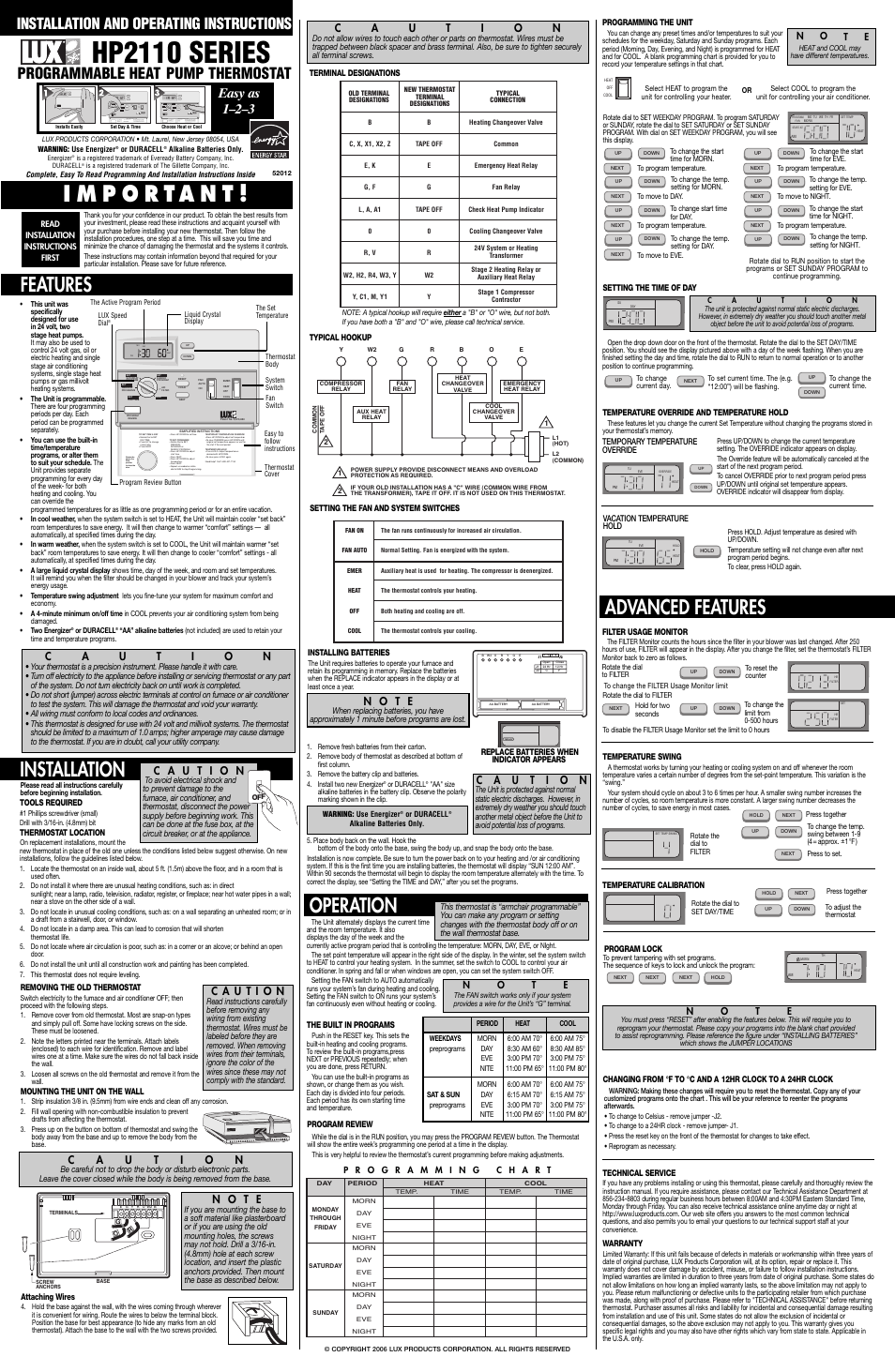 Lux Products hp2110 User Manual | 1 page