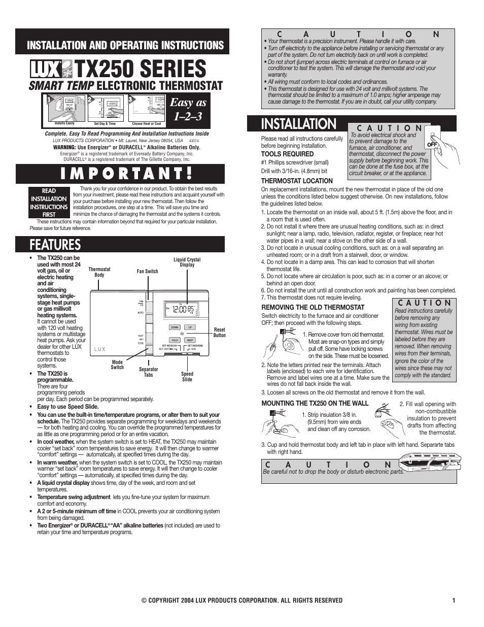 Lux Products TX250 User Manual | 3 pages