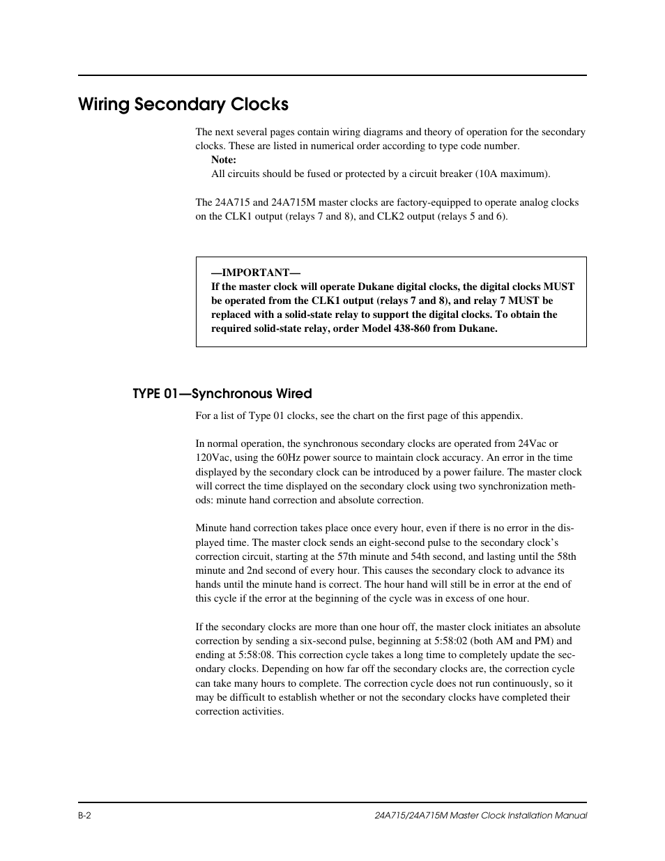 Wiring secondary clocks | Lathem Dukane 24A715 User Manual | Page 44 / 86