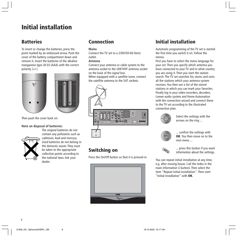 Initial installation, Batteries, Connection | Loewe 42 HD/DR+ User