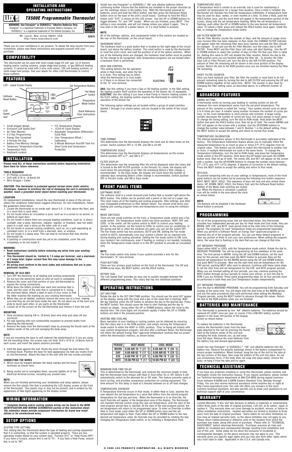 Lux Products TX500E User Manual | 2 pages