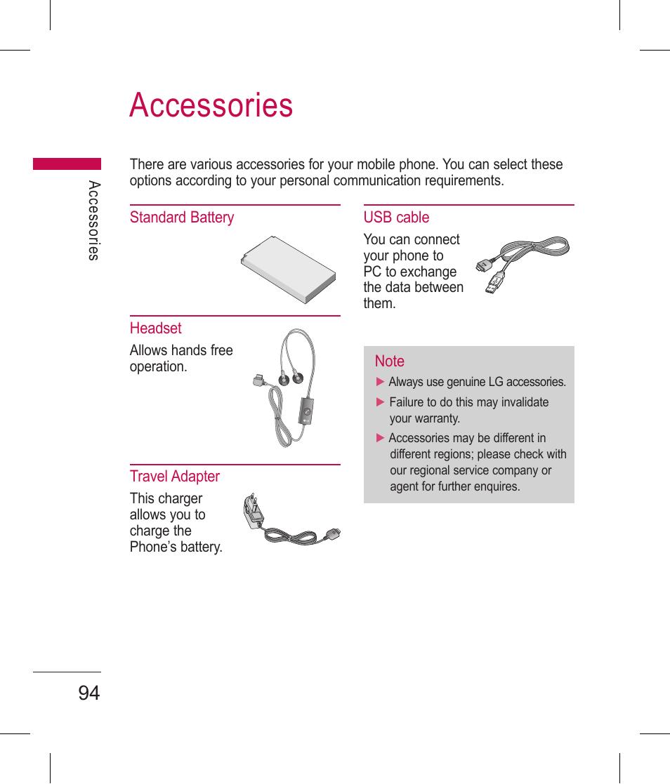 Accessories | LG BLUETOOTH QDID B013918 KP199 User Manual | Page 194
