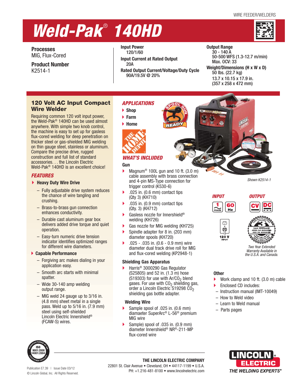 Lincoln Electric 140HD K2514-1 User Manual | 2 pages