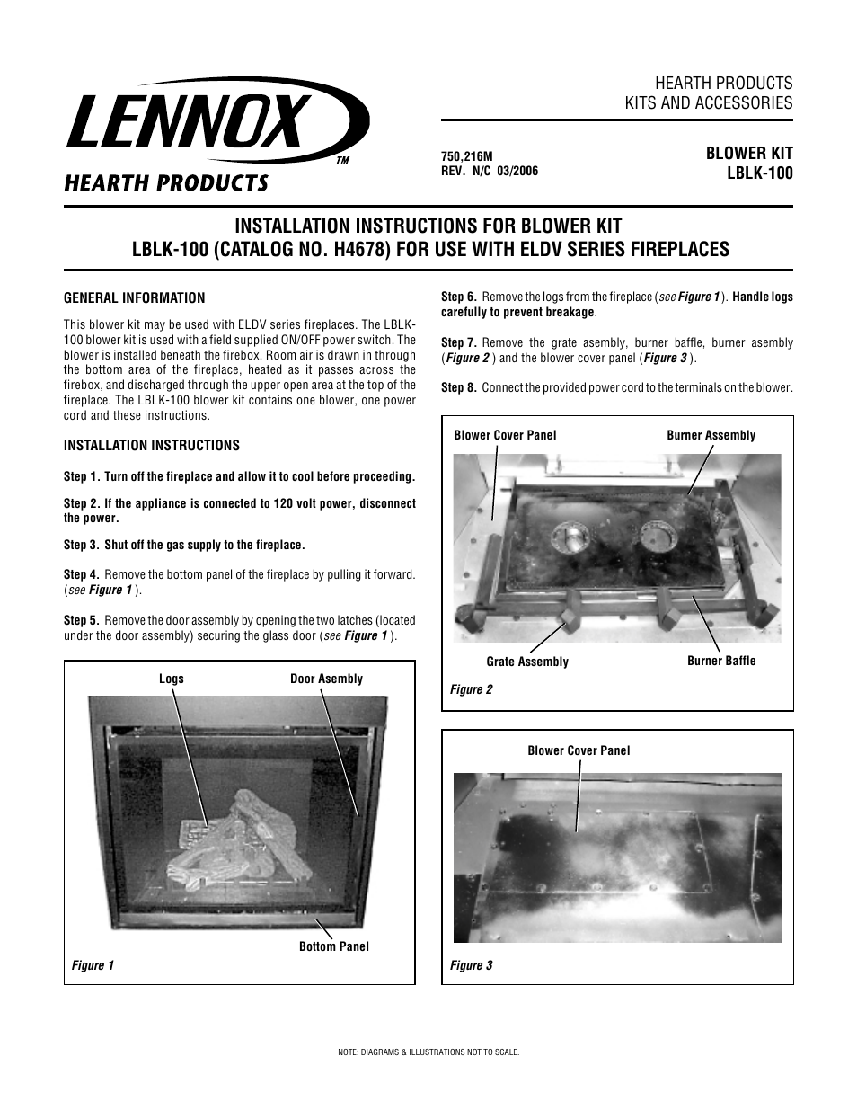 Lennox Hearth Blower Kit Lblk 100 User Manual 4 Pages