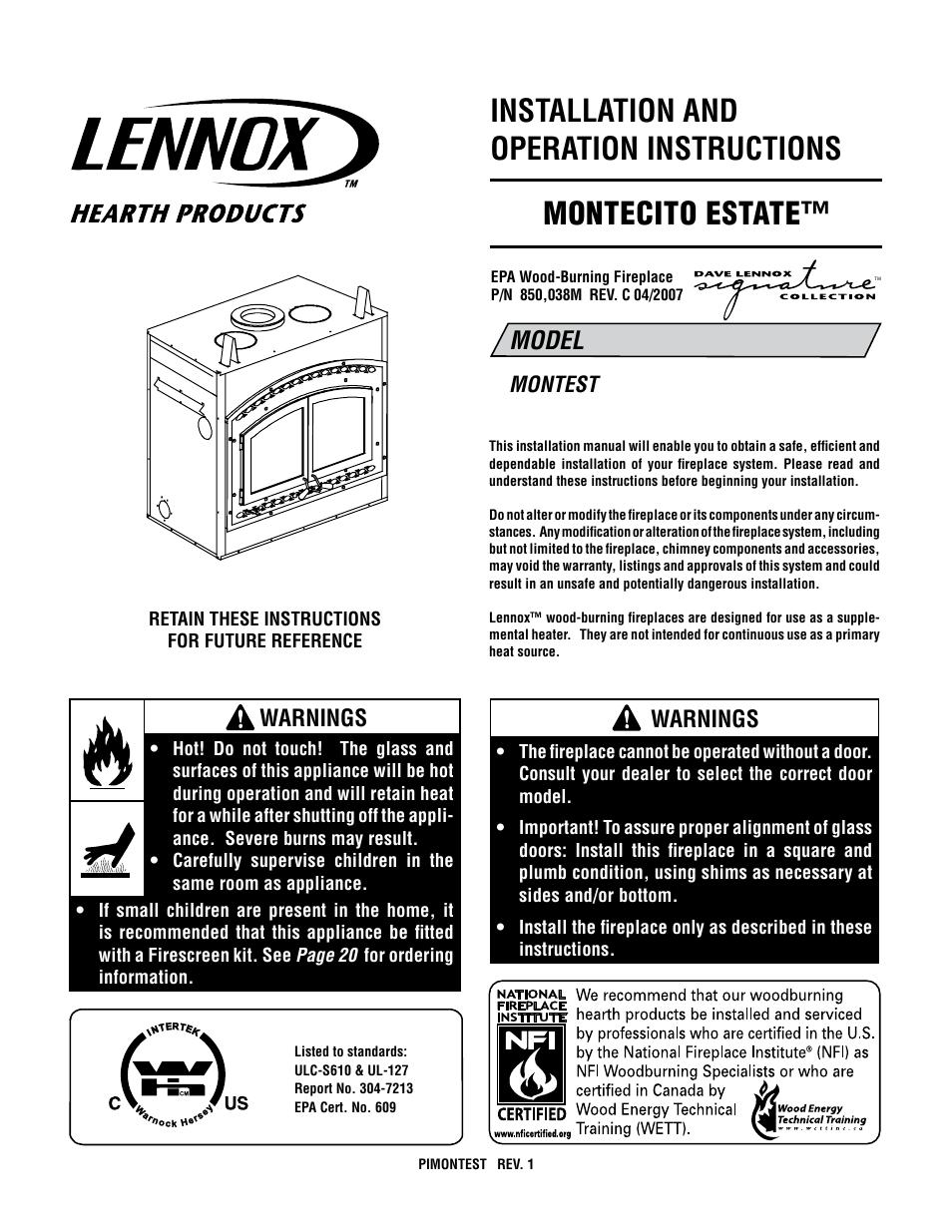 lennox international inc montecito estate montest user manual
