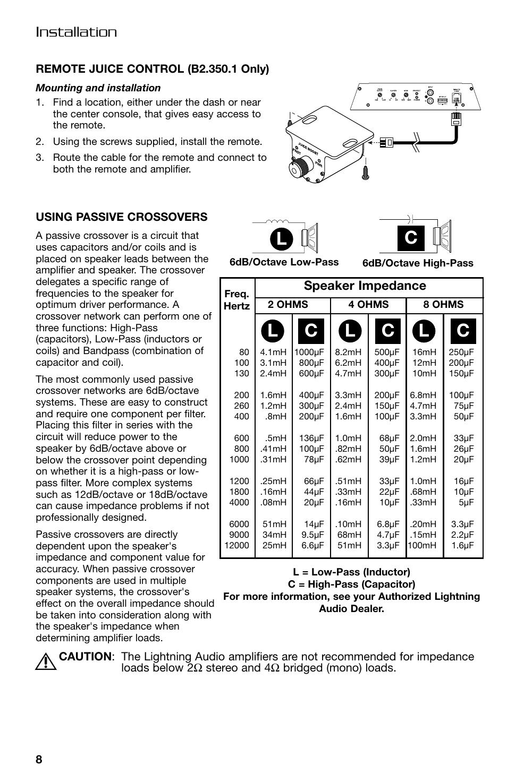 Lc c c, Installation, Speaker impedance | Lightning Audio B2.350.1 User  Manual |