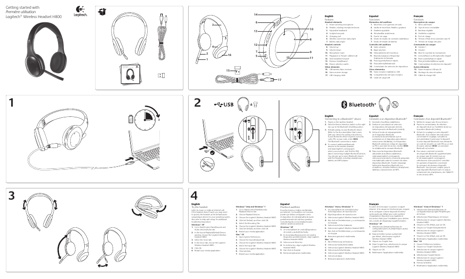 Logitech Wireless Headset H800 User Manual 2 Pages Original Mode