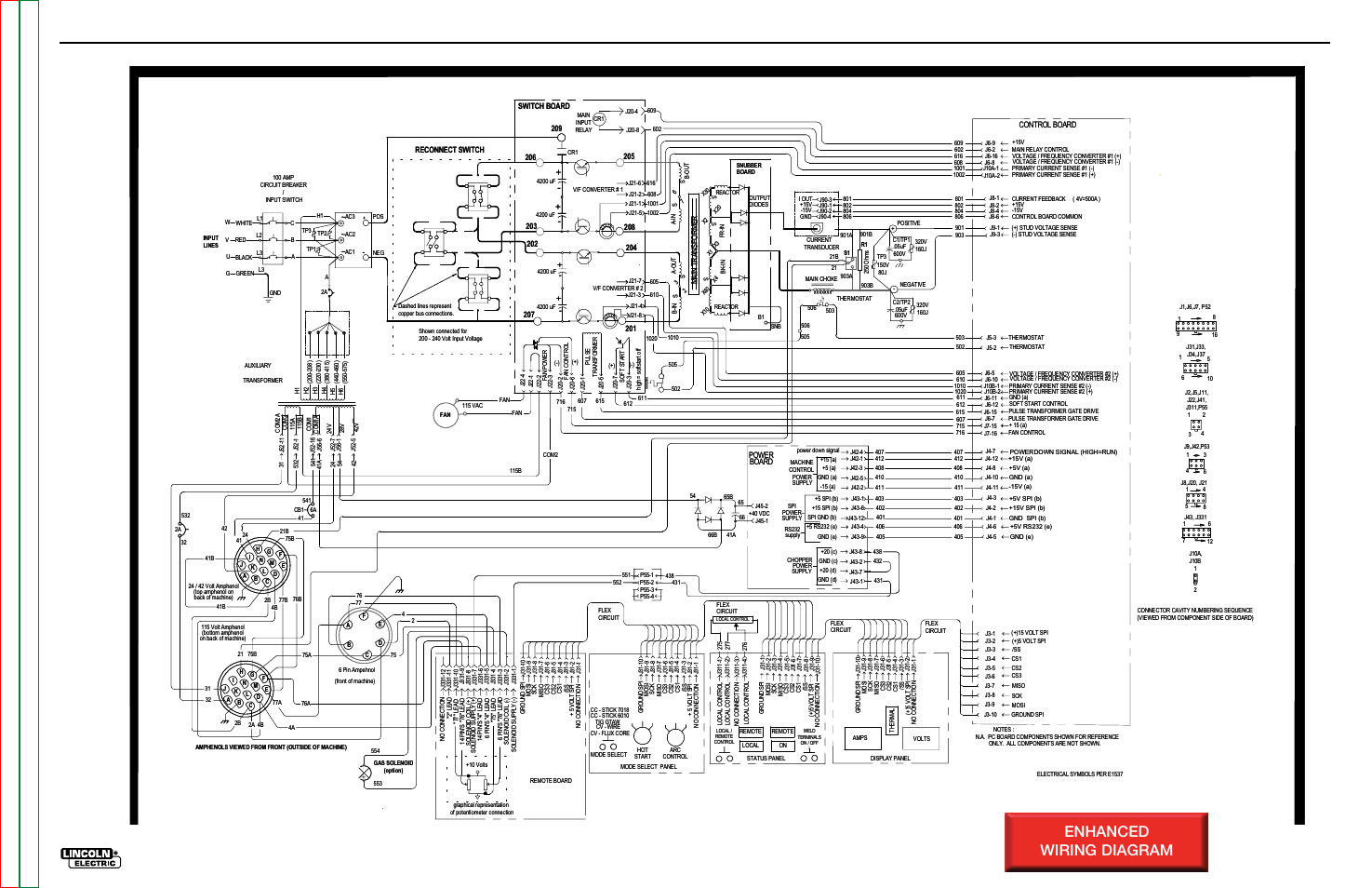 Electrical diagrams, Enhanced wiring diagram, Schematic - complete machine  | Lincoln Electric INVERTEC V350-PRO SVM152-A User Manual | Page 135 / 155