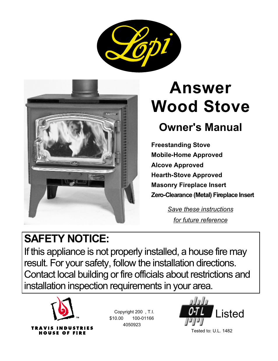 Lopi Answer Wood Stove User Manual | 48 pages