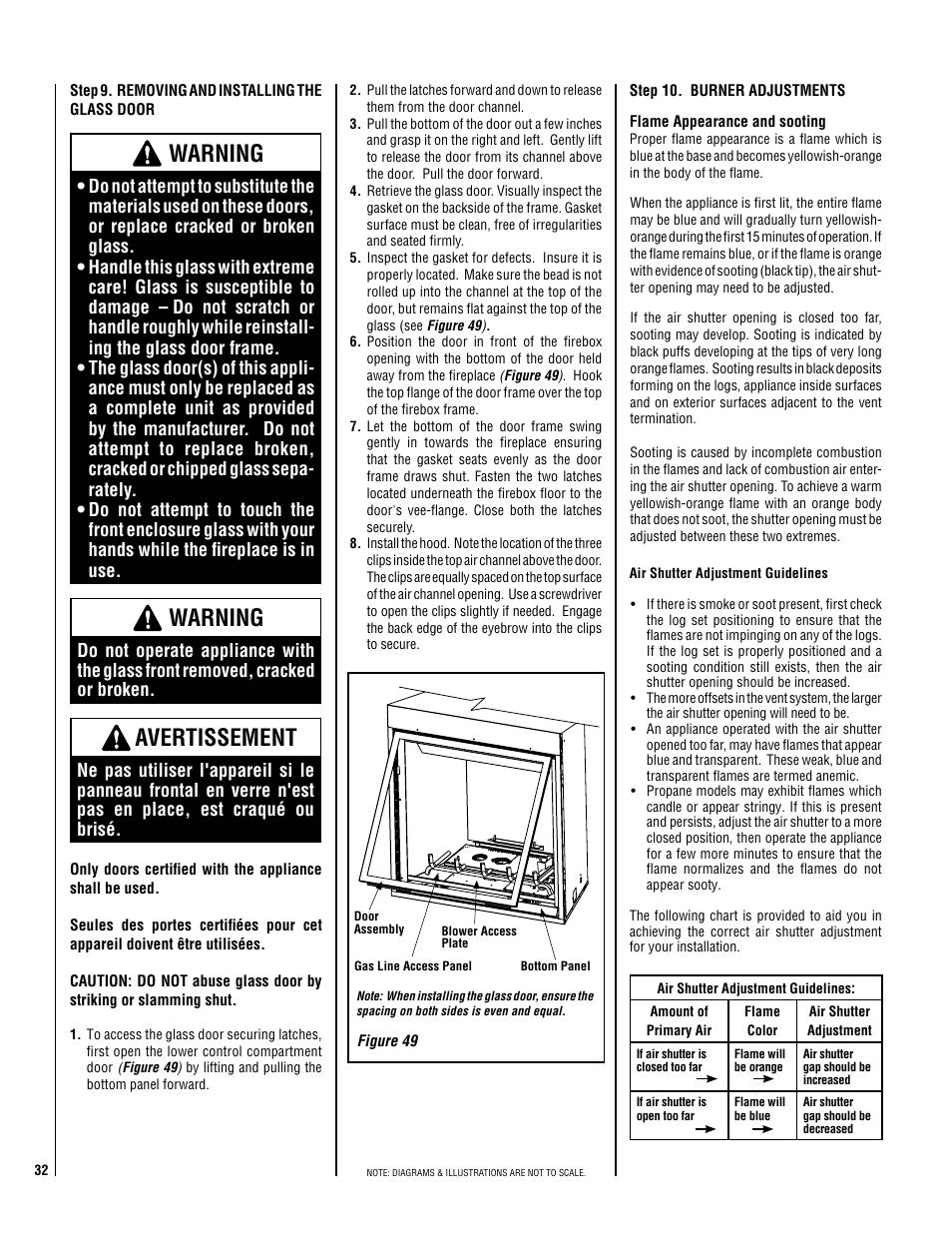 Warning, Avertissement | Lennox Hearth ELITE ELDV-40NM User Manual | Page  32 /