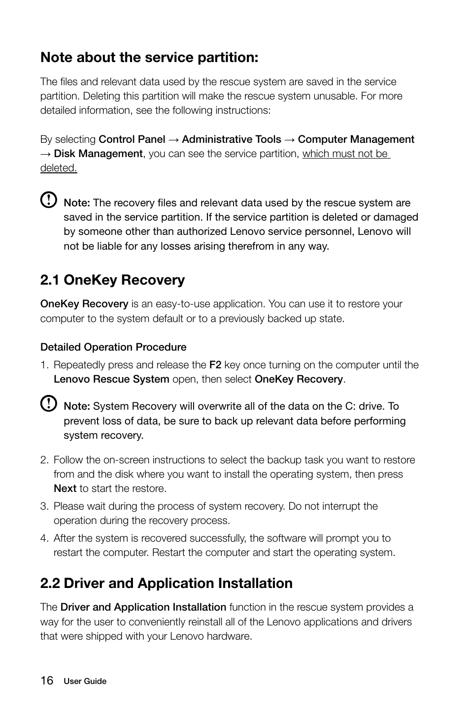 1 onekey recovery, 2 driver and application installation