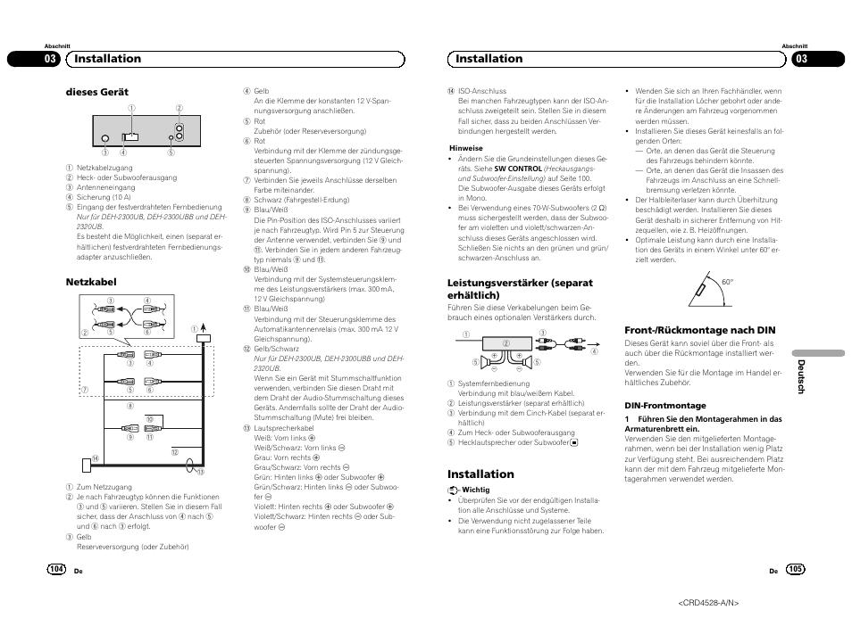 03 installation, Installation | Pioneer DEH-2300UB User Manual ...